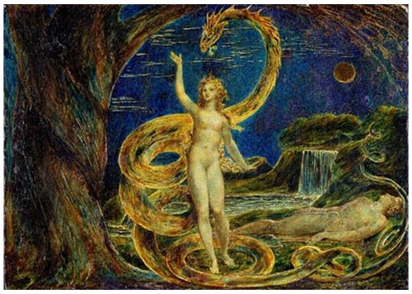 william blake - eve and serpent