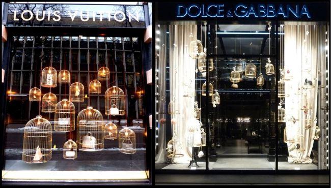 birdcage shop front Louis Vuitton and Dolce & Gabbana