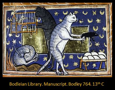 Bodley Manuscript Cats and Birdcage