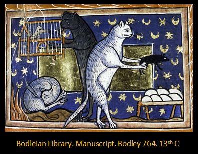 Bodley Manuscript Cats and Birdcage