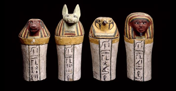 Painted Wood Canopic Jars